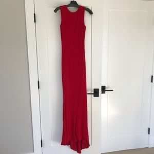 Badgley Mischka red gown with beaded back detail